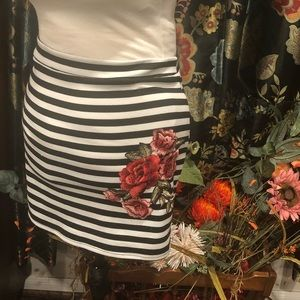PaperMoon Striped Mini Skirt w/Rose Appliqué